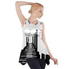 The Pier The Seagulls Sea Graphics Side Drop Tank Tunic by Amaryn4rt