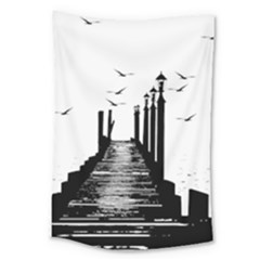 The Pier The Seagulls Sea Graphics Large Tapestry by Amaryn4rt