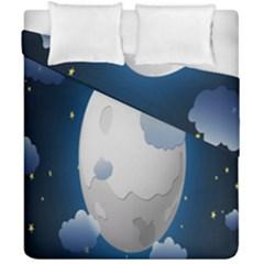 Blue Sky Cloud Star Moon Duvet Cover Double Side (california King Size) by Jojostore