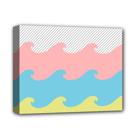 Wave Waves Pink Yellow Blue Deluxe Canvas 14  X 11  by Jojostore