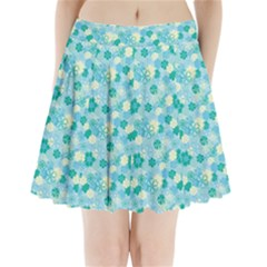 Blue Floral Flower Pleated Mini Skirt by Jojostore