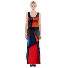 3d And Abstract Maxi Thigh Split Dress by Nexatart