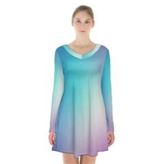 Background Blurry Template Pattern Long Sleeve Velvet V Neck Dress by Nexatart