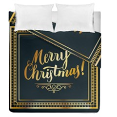 Christmas Gold Black Frame Noble Duvet Cover Double Side (Queen Size) by Nexatart