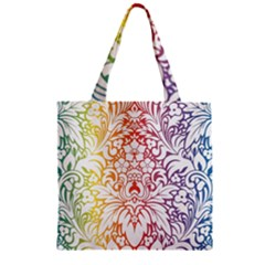 Cool Flower Rainbow Blue Purple Red Orange Yellow Green Zipper Grocery Tote Bag by Jojostore