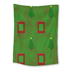 Christmas Trees And Boxes Background Medium Tapestry by Nexatart