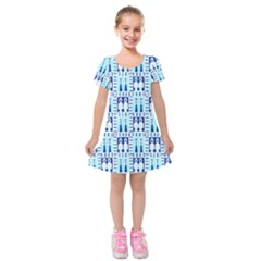 Egyptianpattern Colour Blue Kids  Short Sleeve Velvet Dress by Jojostore