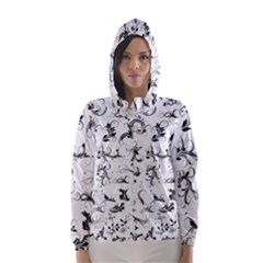 Flower Floral Black Leaf Hooded Wind Breaker (Women) by Jojostore