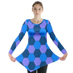 Four Colour Theorem Blue Grey Long Sleeve Tunic  by Jojostore