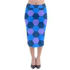 Four Colour Theorem Blue Grey Midi Pencil Skirt by Jojostore