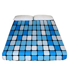 Ronded Square Plaid Blue Fitted Sheet (california King Size)