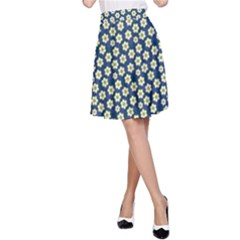 Floral Seamless Flower Blue A-Line Skirt by Jojostore