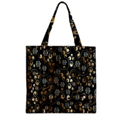 Clipart Chromatic Floral Gold Flower Zipper Grocery Tote Bag by Jojostore