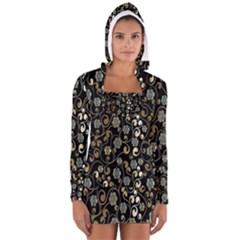 Clipart Chromatic Floral Gold Flower Women s Long Sleeve Hooded T Shirt by Jojostore