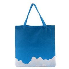 Clouds Illustration Blue Sky Grocery Tote Bag