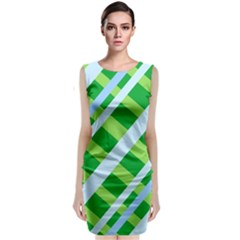 Fabric Cotton Geometric Diagonal Classic Sleeveless Midi Dress