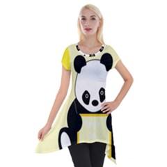 First Birthday Panda Card Short Sleeve Side Drop Tunic by Nexatart