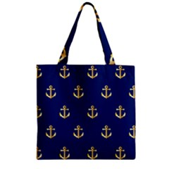 Gold Anchors Background Zipper Grocery Tote Bag