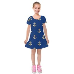 Gold Anchors Background Kids  Short Sleeve Velvet Dress