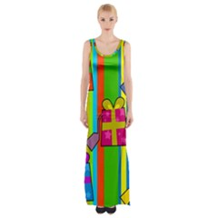 Holiday Gifts Maxi Thigh Split Dress by Nexatart