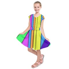 More Color Abstract Pattern Kids  Short Sleeve Dress by Nexatart