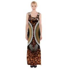 Owl Coffee Art Maxi Thigh Split Dress by Nexatart