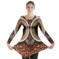 Owl Coffee Art Long Sleeve Tunic  by Nexatart