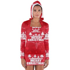 Red Bokeh Christmas Background Women s Long Sleeve Hooded T-shirt by Nexatart