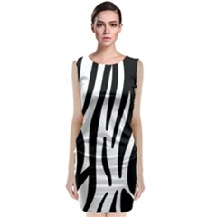 Seamless Zebra Pattern Classic Sleeveless Midi Dress