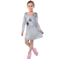 Coton Laying Kids  Long Sleeve Velvet Dress by TailWags