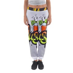 Graffiti Word Character Print Spray Can Element Player Music Notes Drippy Font Text Sample Grunge Ve Women s Jogger Sweatpants by Foxymomma