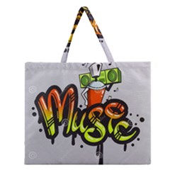 Graffiti Word Character Print Spray Can Element Player Music Notes Drippy Font Text Sample Grunge Ve Zipper Large Tote Bag by Foxymomma