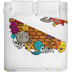 Graffiti Characters Flat Color Concept Cartoon Animals Fruit Abstract Around Brick Wall Vector Illus Duvet Cover Double Side (King Size) by Foxymomma