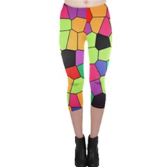 Stained Glass Abstract Background Capri Leggings