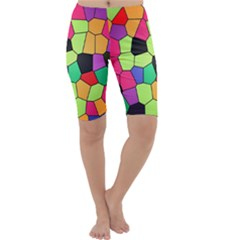 Stained Glass Abstract Background Cropped Leggings