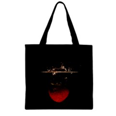 Strawberry Zipper Grocery Tote Bag