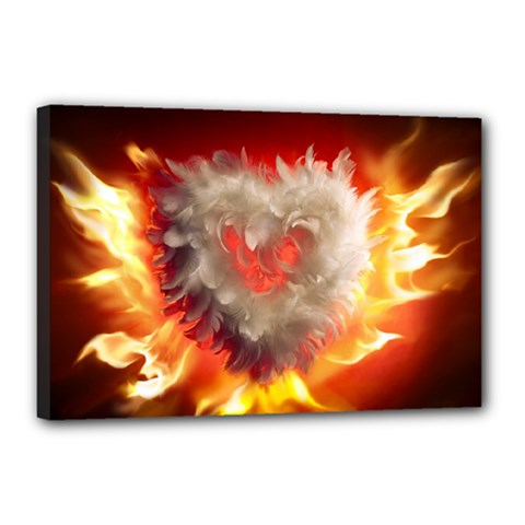 Arts Fire Valentines Day Heart Love Flames Heart Canvas 18  X 12