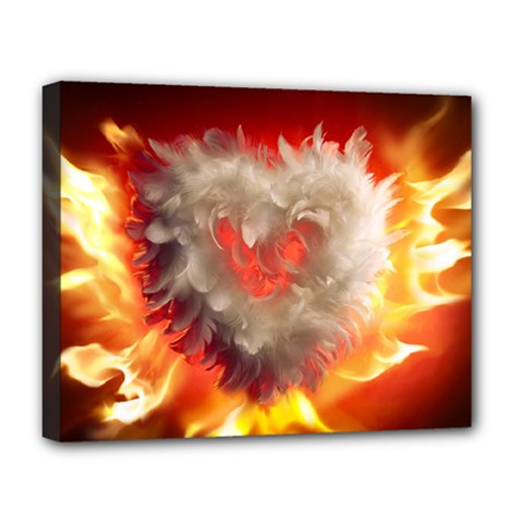 Arts Fire Valentines Day Heart Love Flames Heart Deluxe Canvas 20  X 16