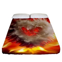 Arts Fire Valentines Day Heart Love Flames Heart Fitted Sheet (california King Size) by Nexatart