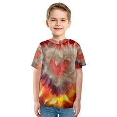 Arts Fire Valentines Day Heart Love Flames Heart Kids  Sport Mesh Tee