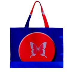 Blue Background Butterflies Frame Zipper Mini Tote Bag
