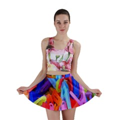 Clothespins Colorful Laundry Jam Pattern Mini Skirt by Nexatart