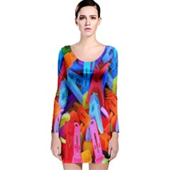 Clothespins Colorful Laundry Jam Pattern Long Sleeve Velvet Bodycon Dress by Nexatart