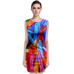 Clothespins Colorful Laundry Jam Pattern Classic Sleeveless Midi Dress