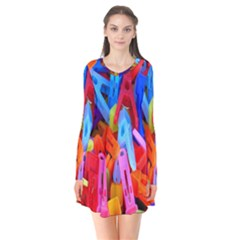 Clothespins Colorful Laundry Jam Pattern Flare Dress by Nexatart