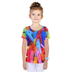 Clothespins Colorful Laundry Jam Pattern Kids  One Piece Tee by Nexatart