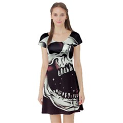 Death Skull Short Sleeve Skater Dress