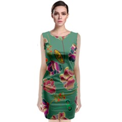 Flowers Pattern Classic Sleeveless Midi Dress