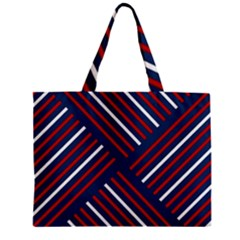 Geometric Background Stripes Red White Zipper Mini Tote Bag by Nexatart