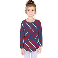 Geometric Background Stripes Red White Kids  Long Sleeve Tee by Nexatart